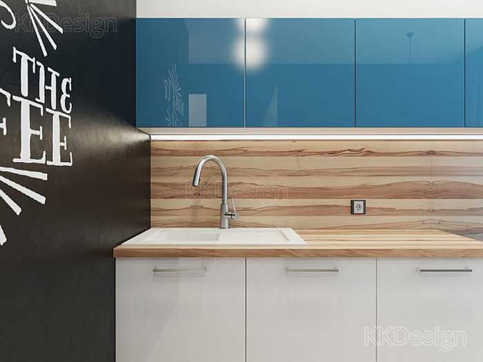 Интерьер кухни в квартире, ламинированный фартук и глянцевые шкафы