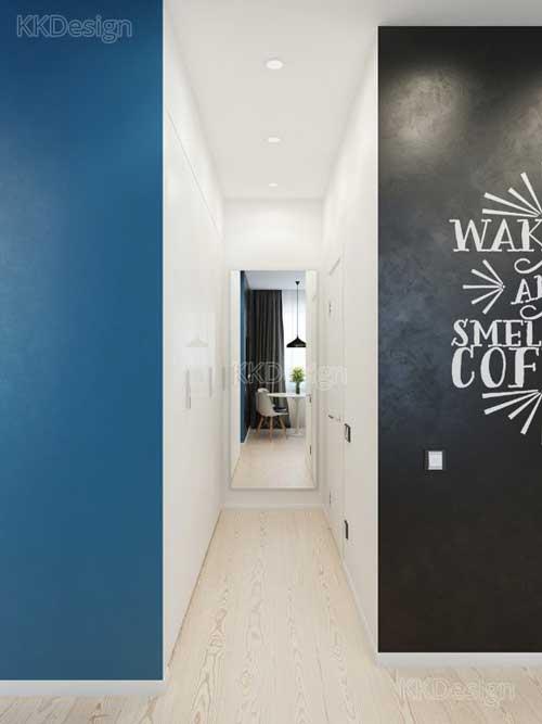 Узкий коридор в стиле минимализм в квартире студии
