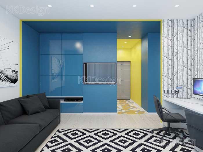 Интерьер гостиной с высокими потолками в стиле минимальзм