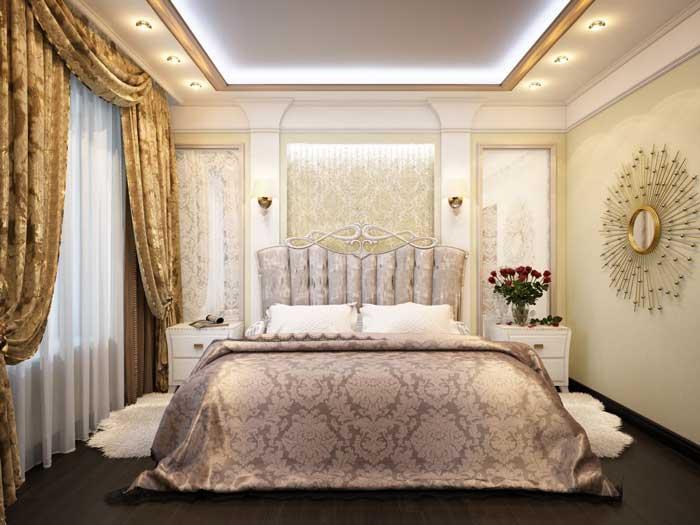 Проект ремонта спальни. Классическое оформление штор в спальне