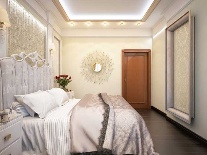 Ремонт маленькой спальни. Отделка стен виниловыми обоями. Шелкография