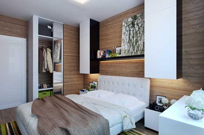 Дизайн маленькой спальни с настенными полками. Дизайн освещения спальни