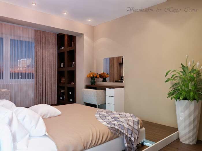 Спальня, совмещенная с лоджией. Кабинет на лоджии