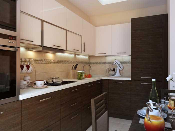 Интерьер кухни в однокомнатной квартире. Фото 9