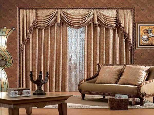 Коричневые шторы для гостиной в классическом стиле 2014. Фото 6