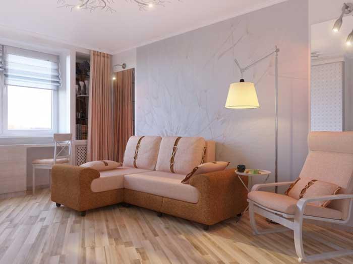 Дизайн гостиной 16 кв. м. Фото 1