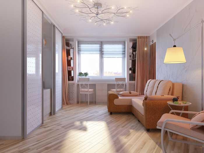 Угловой диван в гостиной 16 кв. м. Светлая отделка стен. Фото 3