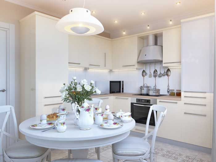 Дизайн белой кухни 12 кв. м. с круглым столом. Фото 5
