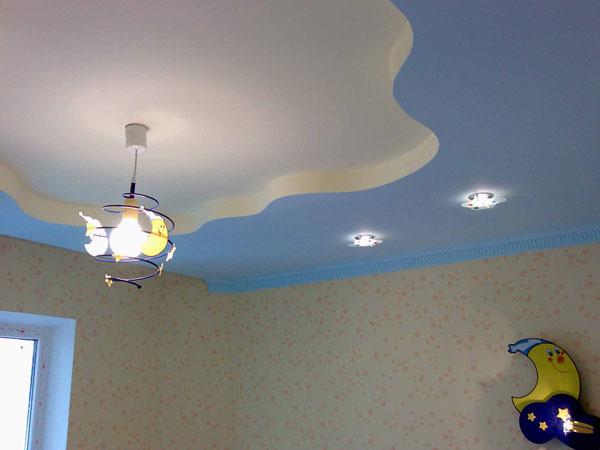 Точечное и основное освещение на потолке в детской