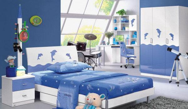 Интерьер детской в синем цвете после ремонта