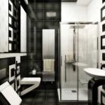 Дизайн черной плитки в ванной. Фото 2
