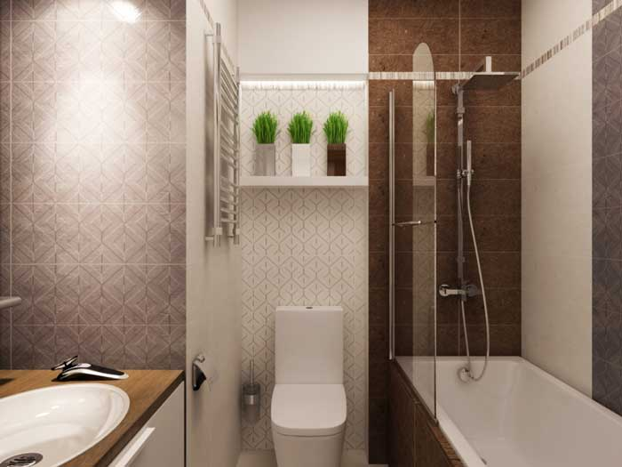 Дизайн однокомнатной квартиры - санузел. Фото 14
