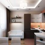 Светлая кухня в однокомнатной квартире. Фото 8