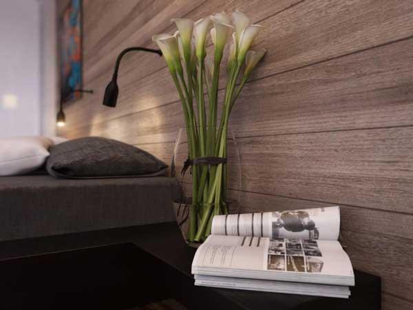 Черная тумба в спальне. Фото 1