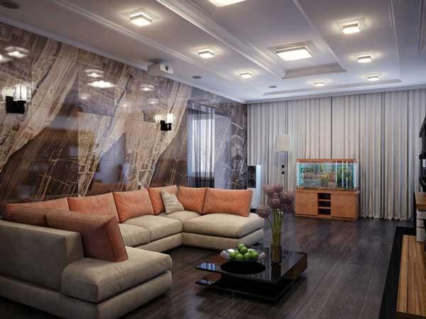Зал с большим белым диваном. Фото 8