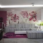 Светлые розовые обои в зале. Фото