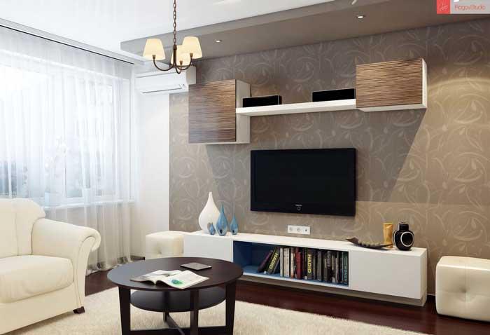 Комбинирование светлых и темных обоев в гостиной