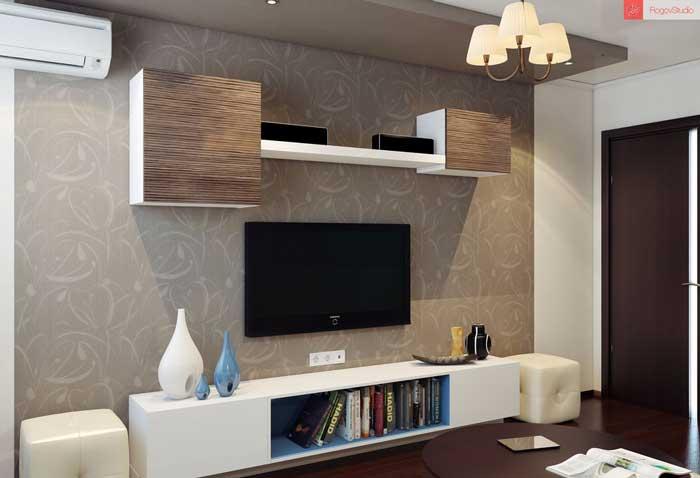 Подвесные шкафы в зале и телевизор на стене
