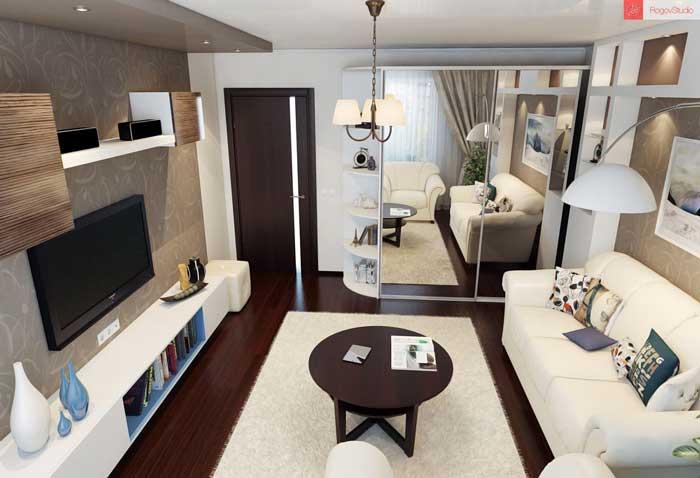 Дизайн светлой гостиной в панельном доме