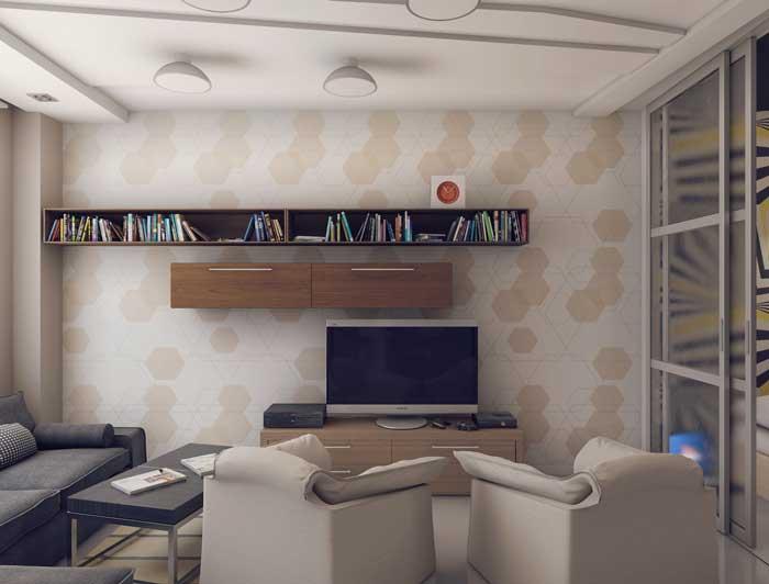 Гостиная после ремонта с комбинированными обоями минимализм