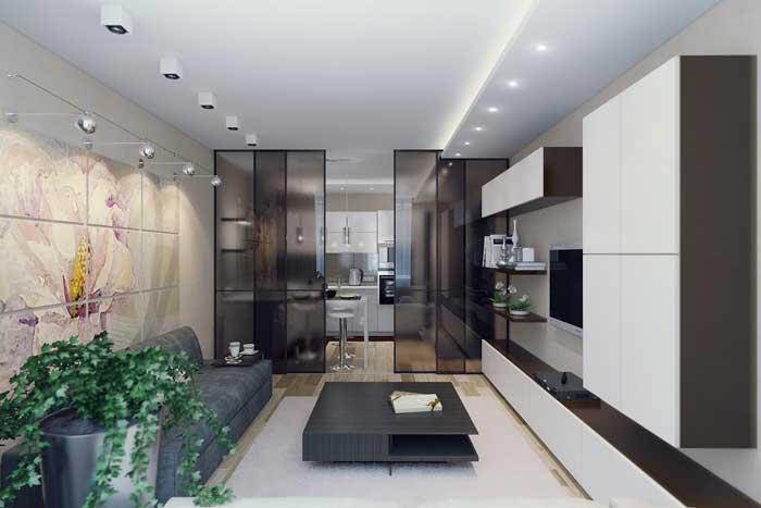 Совмещенная кухня с гостиной с перегородкой. Фото 6
