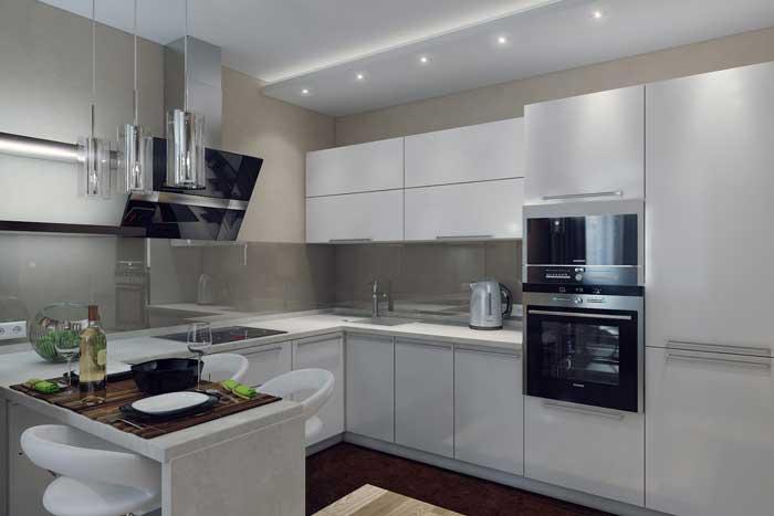 Интерьер кухни, объединенной с гостиной. Фото 4