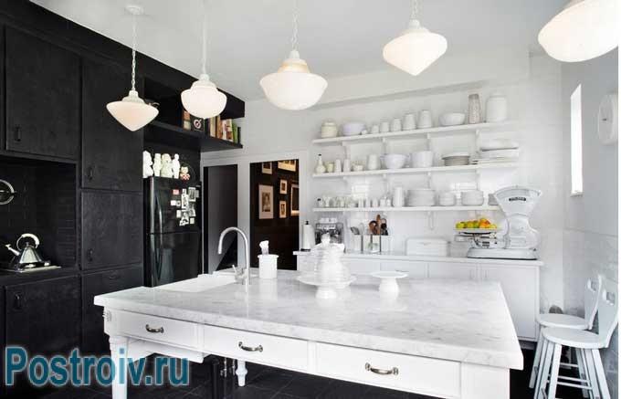 Декорирование черно-белой кухни в современном стиле