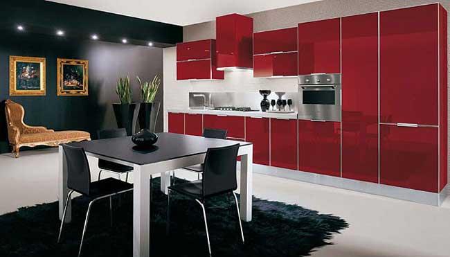 Красно черная кухня с цветами
