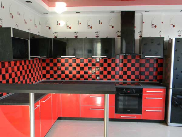 красно-черная кухня дизайн фото