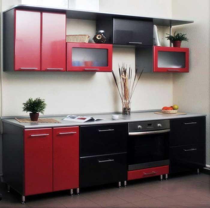Интерьер кухни красно-черного цвета. Фото 9