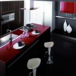 Кухня черно-красно-белая. Фото 7