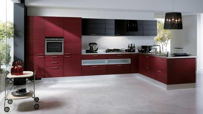 дизайн кухни в черно-красном цвете фото