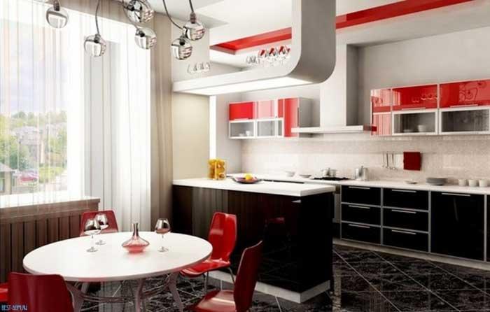 Черно-красные кухни. Фото 2
