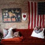 Декорирование стены кирпичом. Фото
