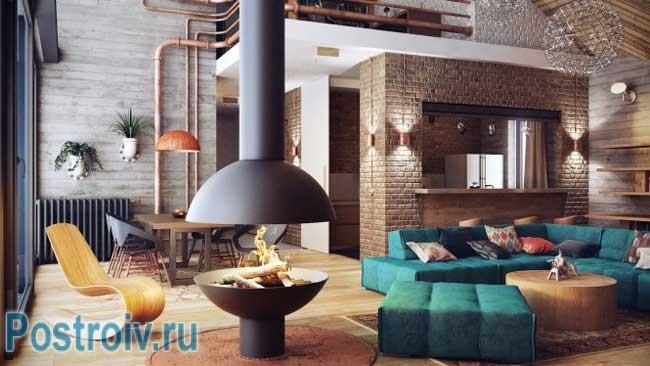 Декоративный кирпич в интерьере гостиной. Фото