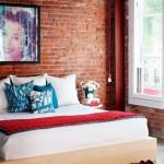 Декоративный кирпич в интерьере спальни. Фото