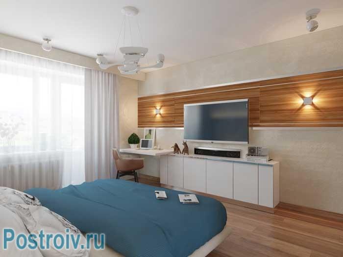 Как разместить телевизор в спальне. Фото 4