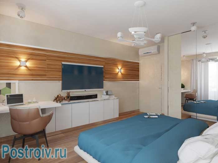 Цвет морской волны в спальне. Фото 2