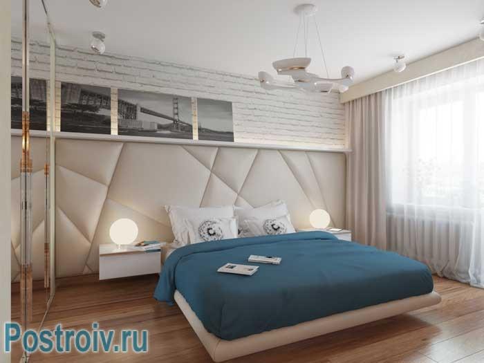 Современный стиль спальни 18 кв. м. Фото 1