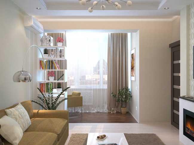 Светлый дизайн зала. Фото 1
