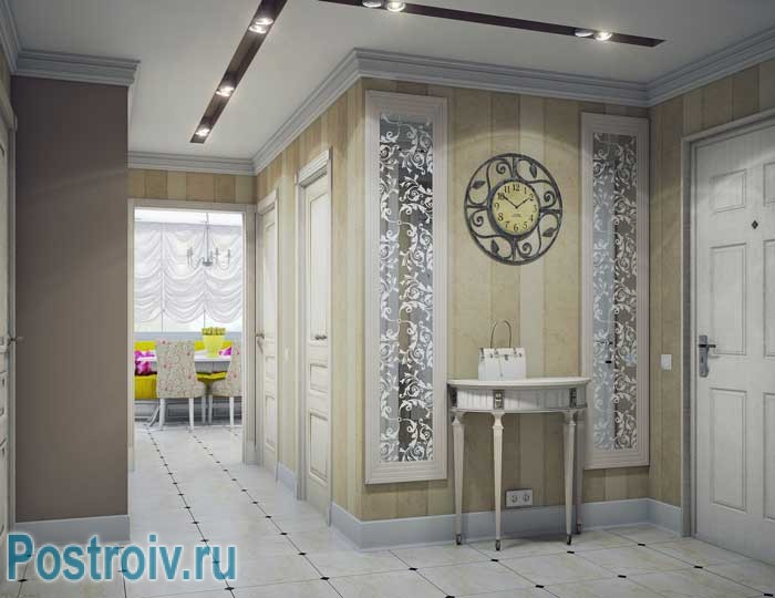 Керамическая плитка на полу в коридоре. Современный дизайн прихожей