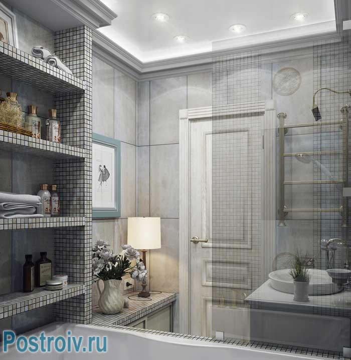 Дизайн современной ванной 3-4 кв. м. отделанной мозаикой. Точечные светильники на потолке