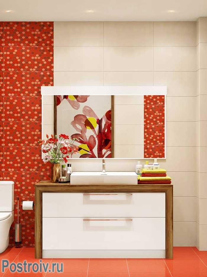 Комбинированные цвета в интерьере ванной