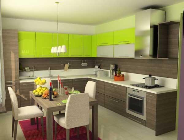 Дизайн кухни цвета венге и лайм. Фото 15