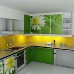 Желтый кухонный фартук в дизайне кухни. Фото 10