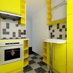 Сочетание желтого и черного цветов на кухне. Фото 16