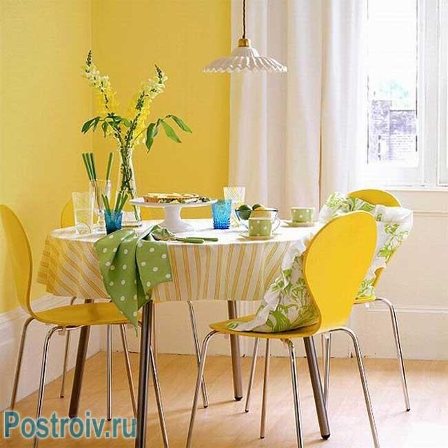 Стены на кухне желтого цвета. Фото 12