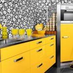 Интересный вариант кухни в желтом цвете. Фото 24