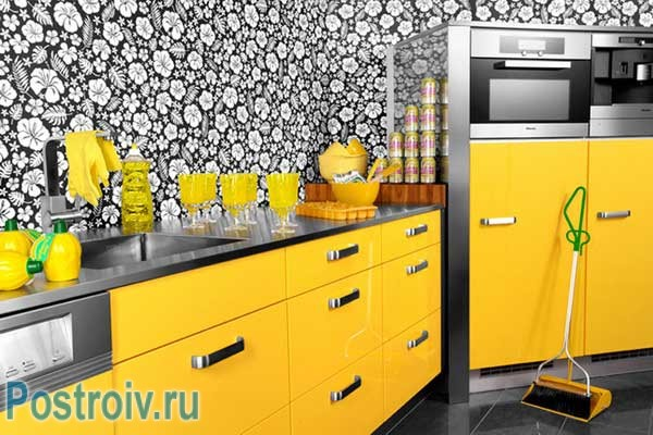 Кухня дизайн в желтом цвете