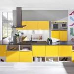 Интересный вариант кухни в желтом цвете. Фото 22